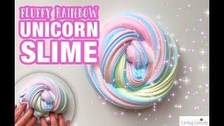 EASY FLUFFY SLIME RECIPE - How to Make Rainbow Unicorn Slime