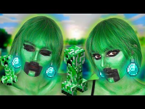 МАКИЯЖ НА ХЭЛЛОУИН Крипер из Майнкрафта   Creeper Minecraft Halloween MakeUp