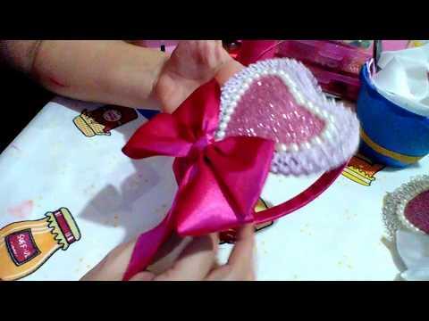 Tiara com Coração e laço - DIY PAP (  Tiara with Heart and Lace DIY - PAP )
