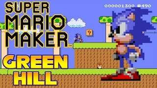 Super Mario Maker - Green Hill Zone Act 1 (With Sonic Sounds!)