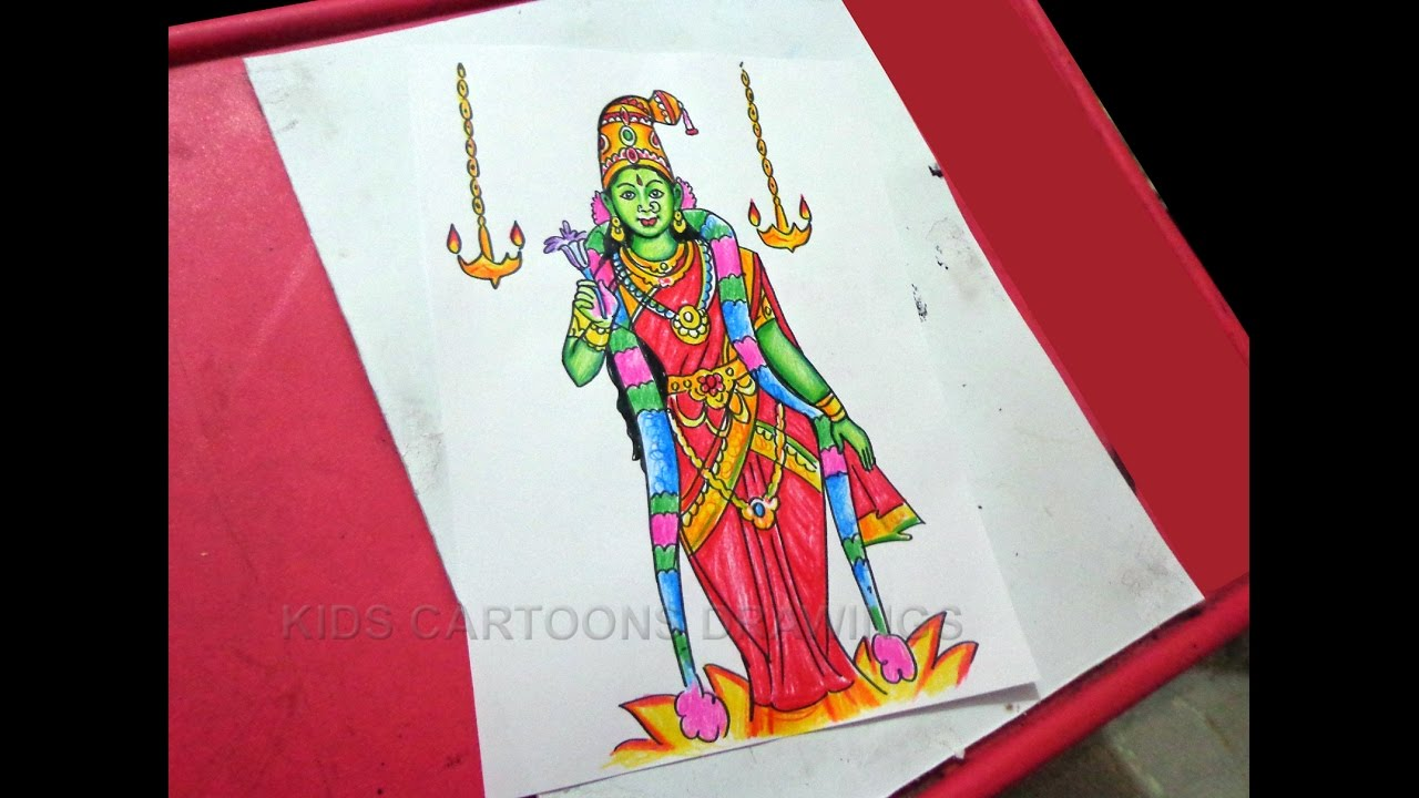 How To Draw Dussehra Navratri Goddess Meenakshi Drawing Step By Step Youtube