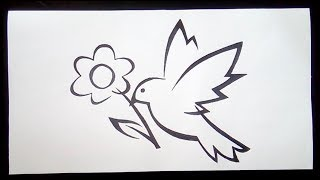 Flying Bird with flower clip art (drawing tutorial for beginners)