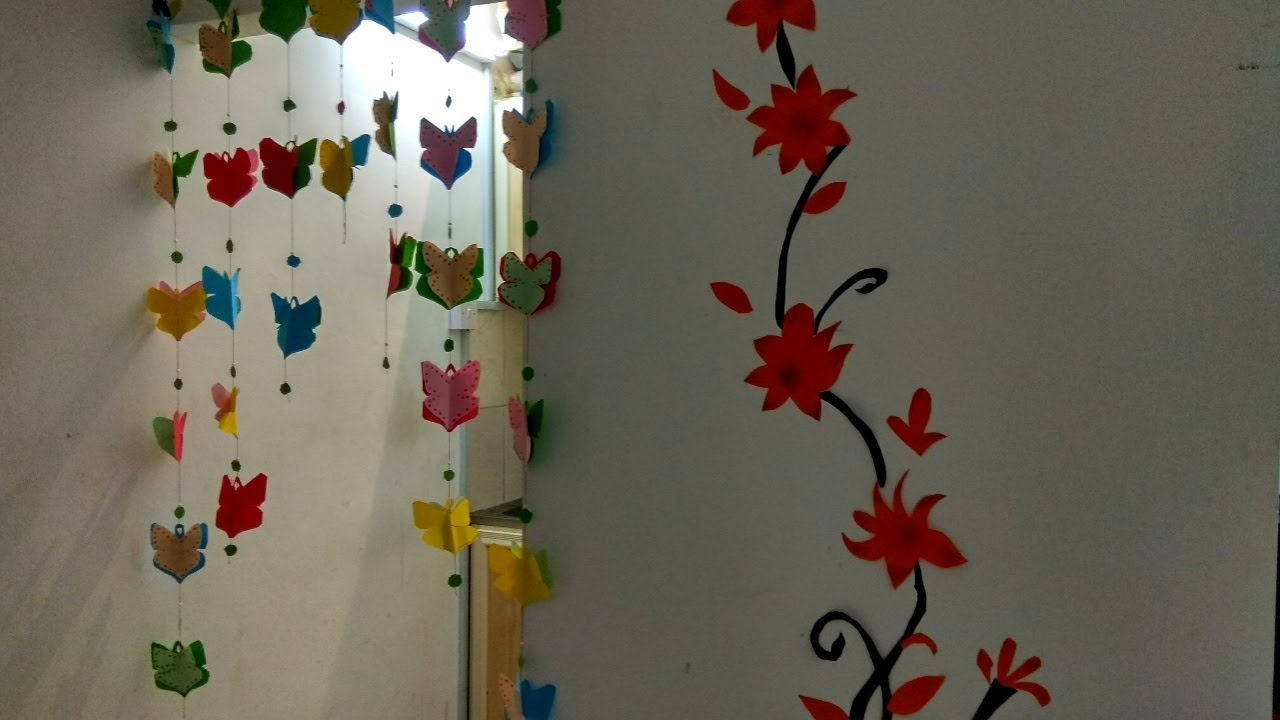 Wall Hanging Making With Colour Paper Craft Work Very Easy And