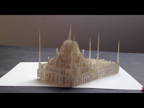 3d blue mosque pop up card origamic architecture kirigami paper art youtube. Black Bedroom Furniture Sets. Home Design Ideas