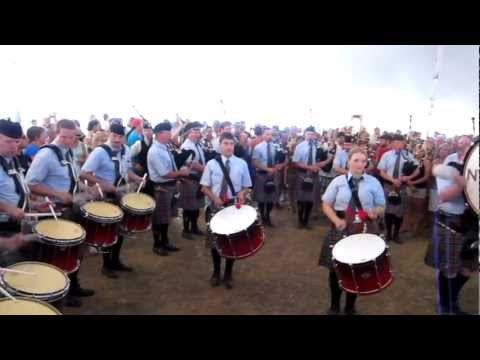 New York Metro Pipe Band celebrating the North American Championship, Maxville, 2012.