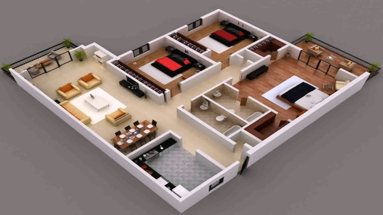 House Plan India 3 Bedroom Gif Maker - DaddyGif.com - YouTube