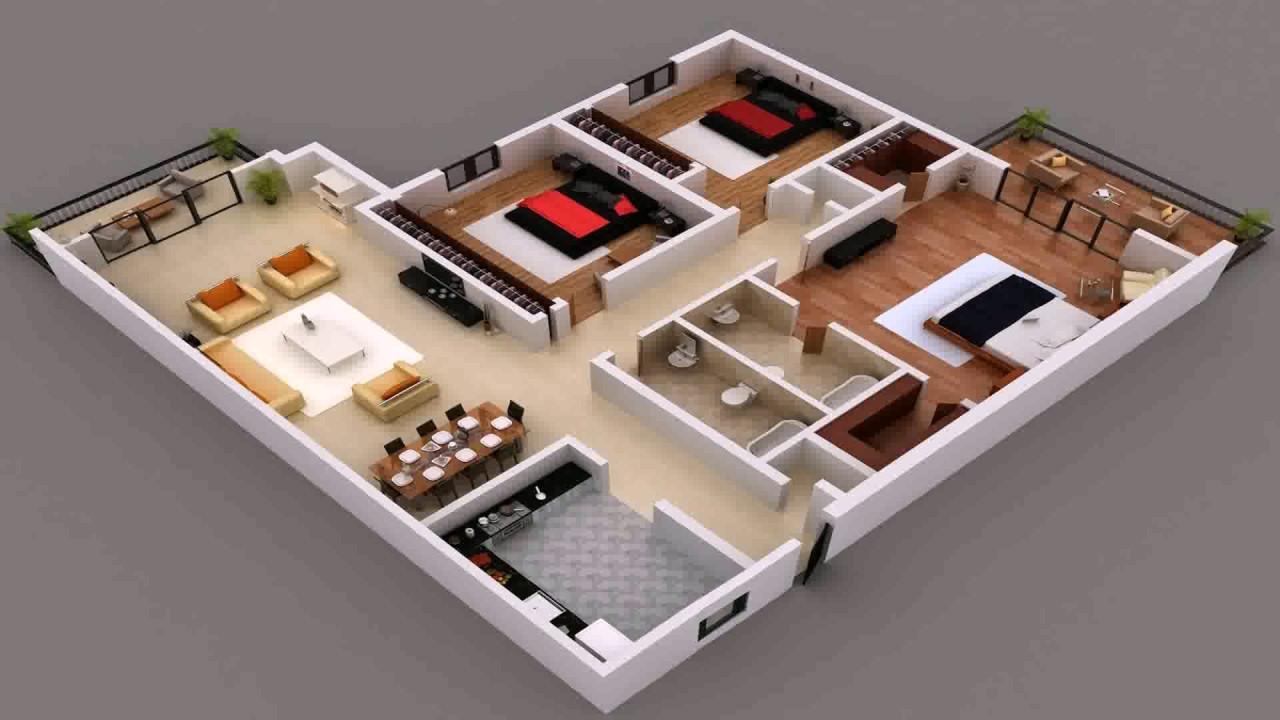 House Plan India 3 Bedroom Gif Maker - DaddyGif.com - YouTube