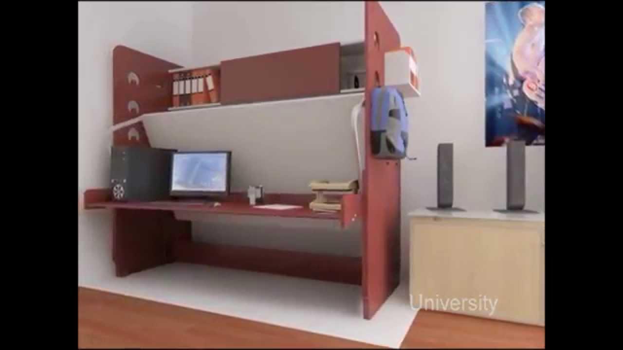cama escritorio con biblioteca youtube