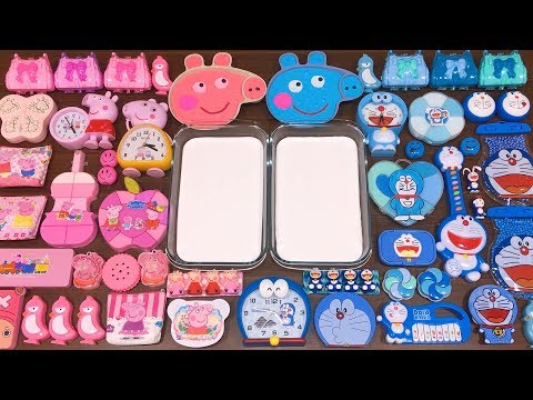 Special Series #32 BLUE DOREAMON vs PINK PEPPA PIG !! Mixing Random Things into GLOSSY Slime