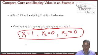 GTO-7-05: Comparing the Core and the Shapley Value in an Example