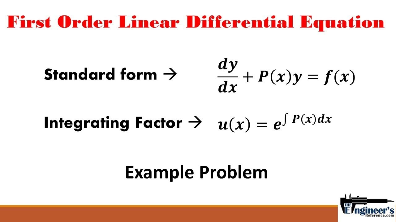 Differential Equations Part 3 First Order Linear Equation Examples