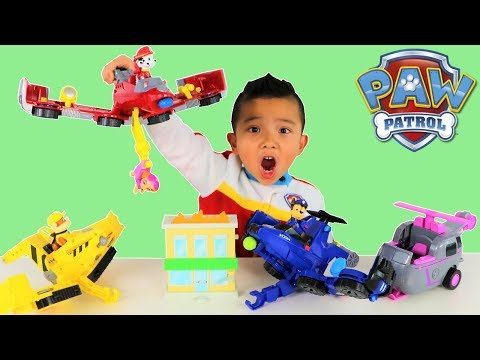 TRANSFORMING Paw Patrol Toys  Marshall Chase Skye Rubble Flip And Fly Ckn Toys