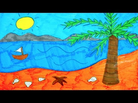 How To Draw The Beach Ocean Tree Sun and Boat  Kids Coloring