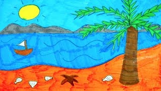 How To Draw The Beach, Ocean, Tree, Sun and Boat | Kids Coloring Video