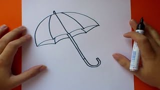 Como dibujar un paraguas paso a paso | How to draw an umbrella