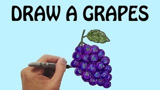 Learn How To Draw a Grapes in Easy Steps | Draw Fruits | Basic Drawing Lessons For Kids