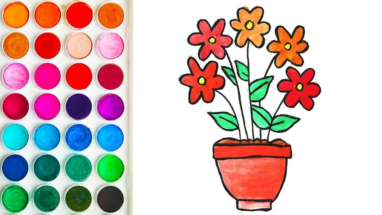 Drawings of Flower Pot for Kid - Coloring Books for Kids - YouTube