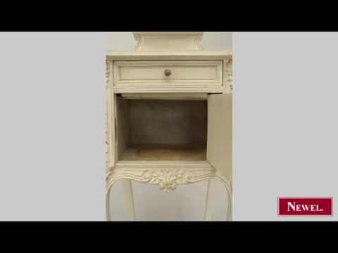 Antique French Victorian white painted and carved bedside