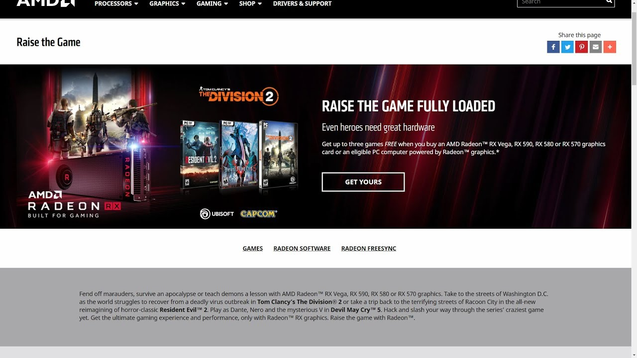 The Division 2, Resident Evil 2, Devil May Cry 5 Video Games Free Offer