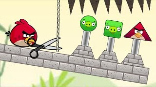 Angry Birds Pigs Out - DROPPING SPIKES TO PIGGIES AND RESCUE TRIANGLE BIRD!