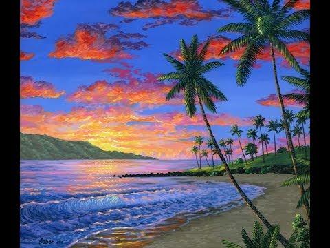 hoe te schilderen het tropische strand in hawa bij zonsondergang met behulp van acryl op doek. Black Bedroom Furniture Sets. Home Design Ideas