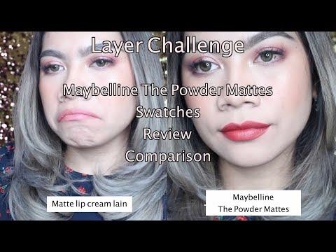 Maybelline The Powder Mattes Review & Swatches  + Comparison (Layer Challenge)   Jihan Putri