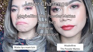 Maybelline The Powder Mattes Review Swatches Comparison Layer Challenge Jihan Putri