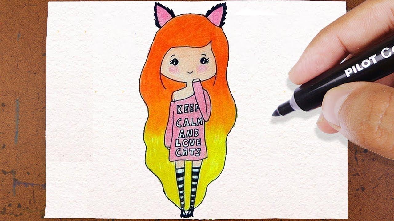 Colorindo E Desenhando Bonequinha Tumblr Love Cat Desenho Lindo E Fácil How To Draw