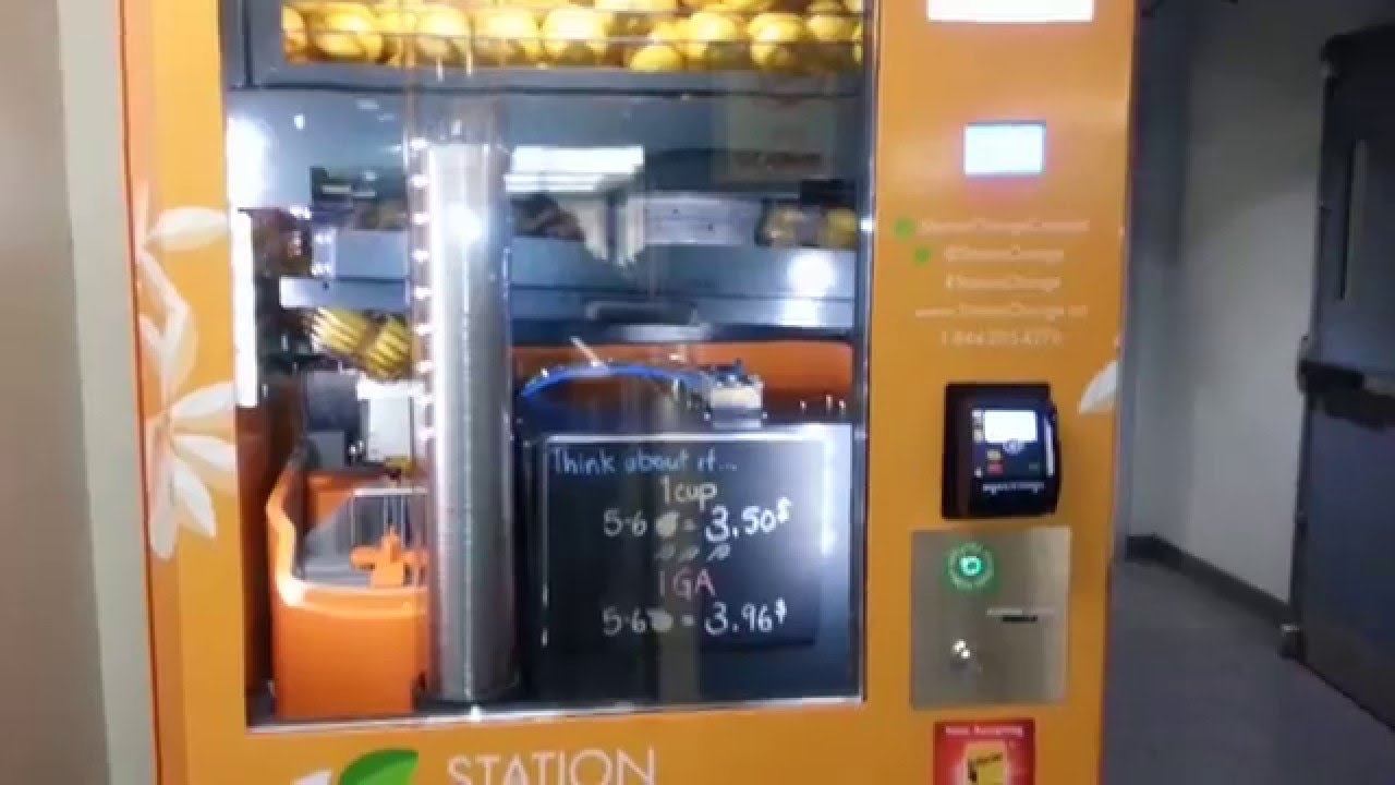 Fresh Squeeze Orange Juice Vending Machine Youtube
