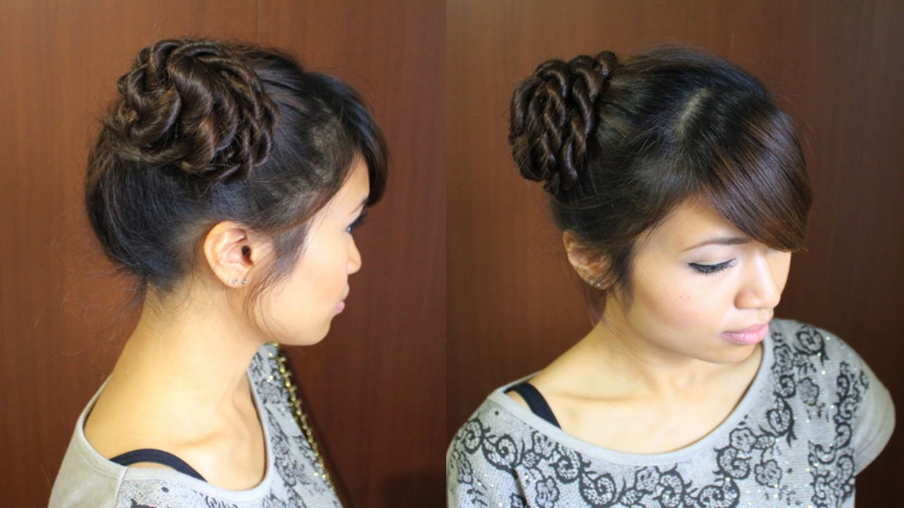 Ballerina Rope Braid Hair Bun Updo Hairstyle For Long Hair