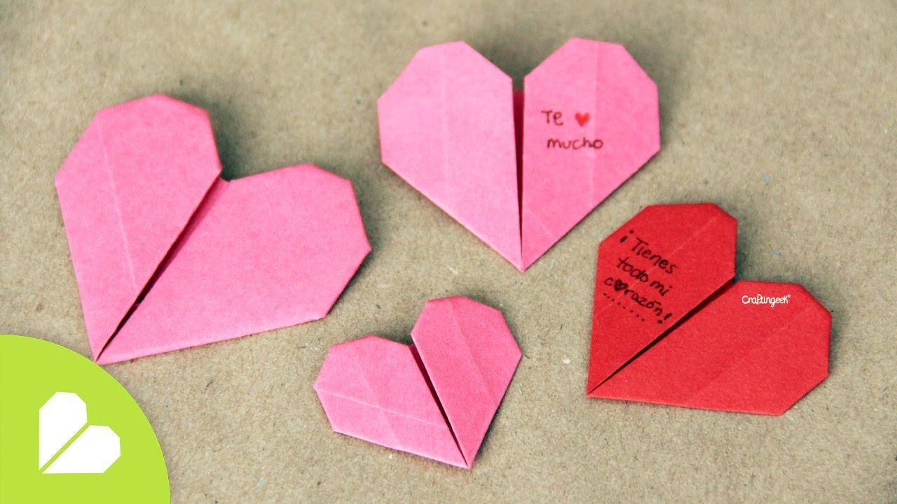 Corazones de Origami para San Valentin // Origami Heart - YouTube