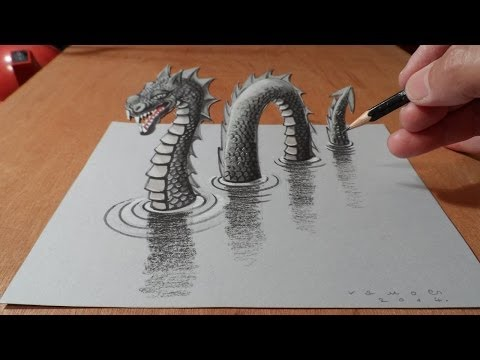 3D Drawing Loch Ness Monster - Trick Art Dragon on Paper