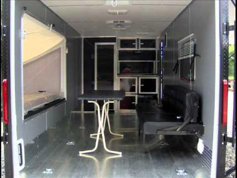 VRV 7X18 enclosed aluminum toy hauler trailer slidshow