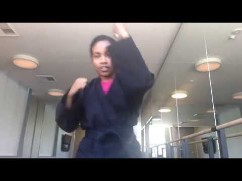 Actress Hillary Hawkins Kicking & Punching after class
