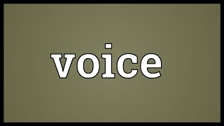 Voice Meaning