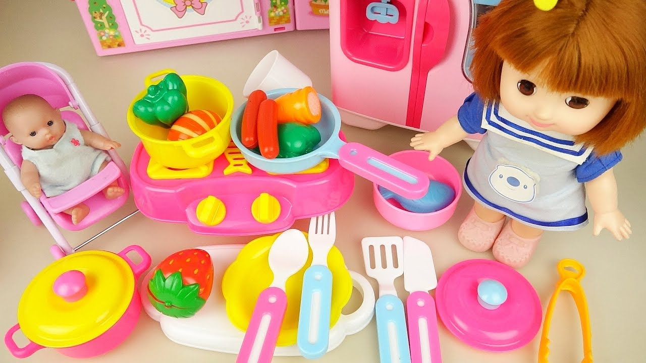 Kitchen set and baby doll food cooking play baby Doli house