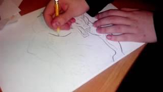 Оборотень. Рисунок простым карандашом.(Подруга рисует., 2016-05-16T20:05:31.000Z)