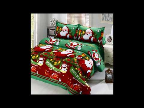 4pcs Cotton Material 3D Printed Cartoon Merry Christmas Gift Bed Sheet 2 Pillowcases