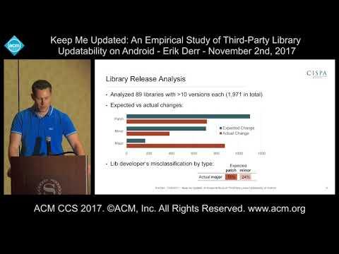 ACM CCS 2017 - Keep Me Updated: An Empircal Study of Third-Party Library [...] - Erik Derr