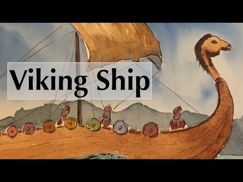 How to Paint A Viking Ship in Watercolor Boat Sea Watercolour Tutorial