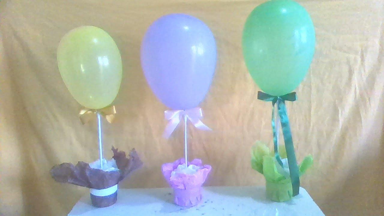 Decoraç u00e3o com bal u00e3o fácil,centro de mesa com bal u00e3o,aniversario,festa,reciclagem, #artesanato  -> Decoração Com Balões Como Fazer Passo A Passo