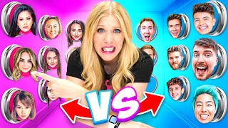 100 BOY vs GIRL YouTuber Mystery Buttons! *Only One Lets You Escape*