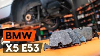 aizmugurē un priekšā Bremžu Kluči uzstādīšana BMW X5 (E53): bezmaksas video