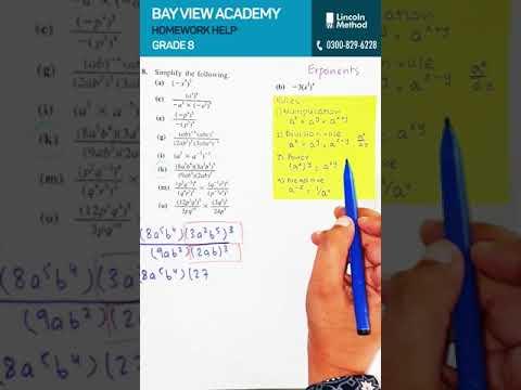 Math Homework: Exponents - Bay View Academy for Grade 8 (21 Jan)