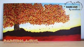 DIY Malen - Herbst Baum mit Spachtel