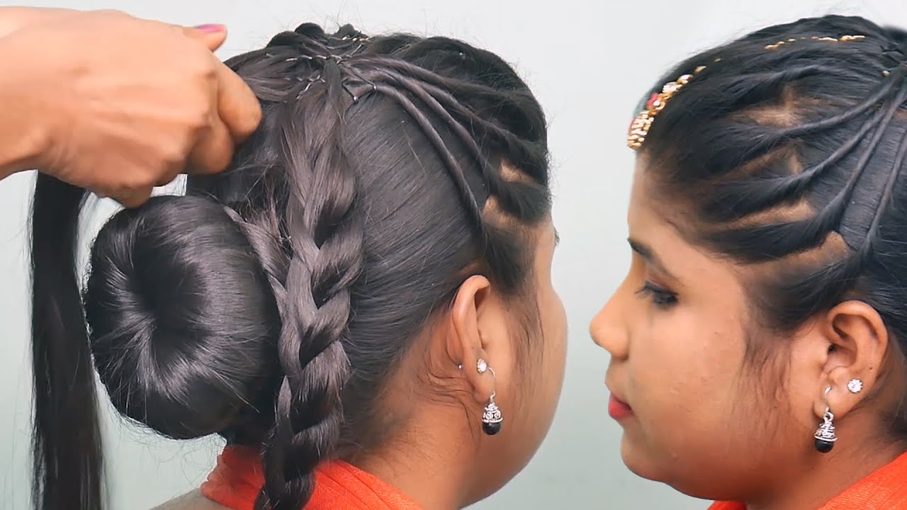 New Juda Hairstyle with Gown || Hairstyle for Medium Hair || Party Hairstyle | Hairstyle for Wedding
