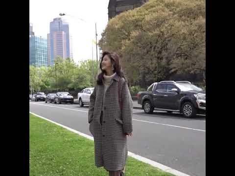 kirahosi 세련 여성 모직 롱 아우터 루즈 슬림 추동 데일리 426호+ 덧신 증정 AFkte6ix