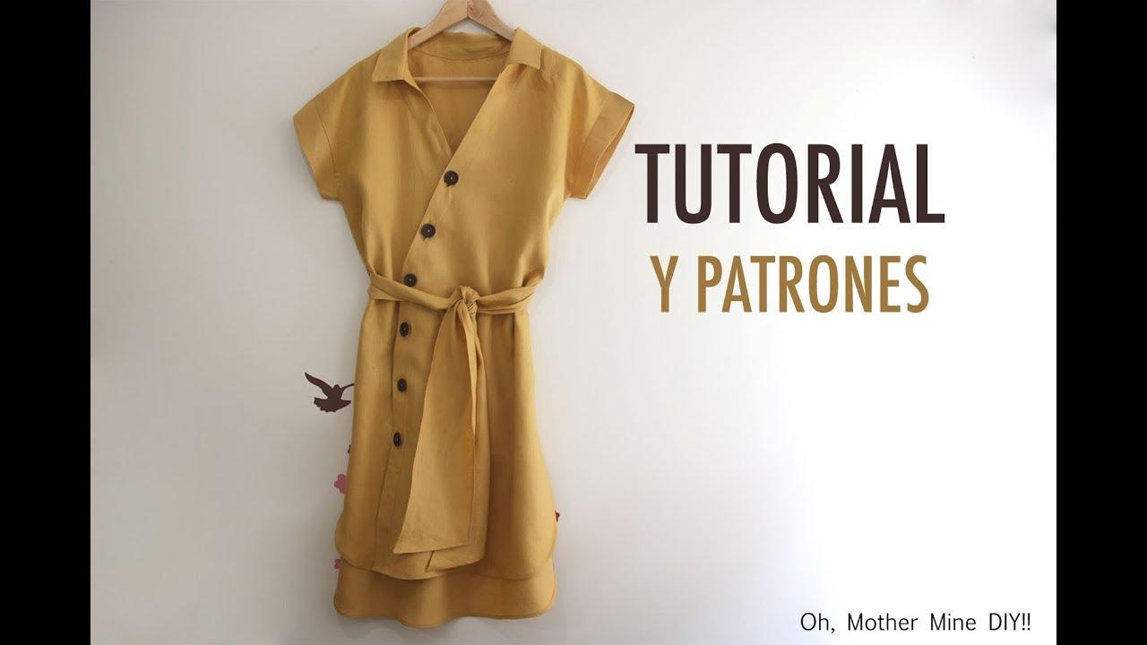 Aprender a coser: Vestido cruzado de mujer (patrones gratis) - YouTube