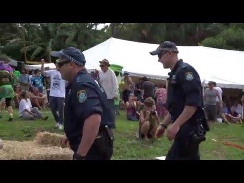 """POLICE V's POLITE. MardiGrass """"Tug of Peace"""" Nimbin, Australia 2016"""
