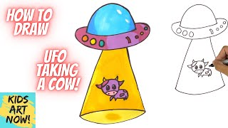 ABDUCTED! - How t๐ Draw a UFO Taking a Cow!